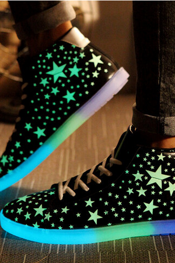 noctilucent platform luminous shoes sneakers high top men and women glow in the dark sneakers