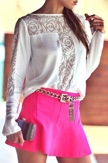 Cute White Chiffon And Lace Top