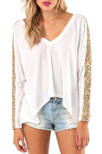 Gorgeous Sequined V Neck Top