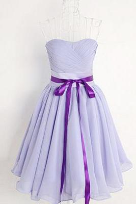 Pretty High Quality Short Lavender Chiffon Sweetheart Bridesmaid Dress with Belt, Lavender Short Bridesmaid Dresses, Short Prom Dresse, Graduation Dresses