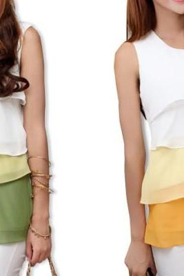 Mixed colors flounced chiffon shirt sleeveless vest jacket