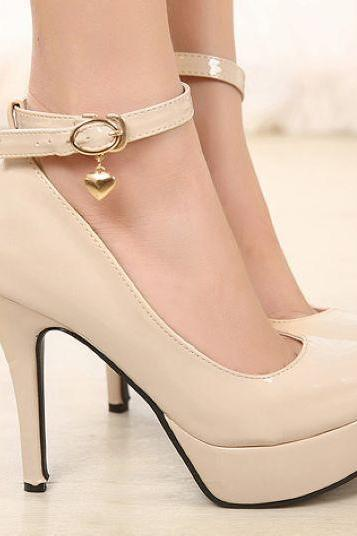 Heart Charmed Ankle Strap High Heels Fashion Shoes In 2 Colors