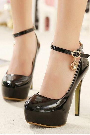 Glossy PU Leather Rounded Toe High Heel Pumps with Ankle Straps Adorned with Diamond Charm