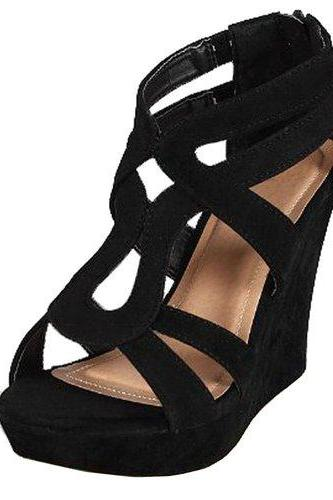 Women'S Strappy Open Toe Platform wedge shoes