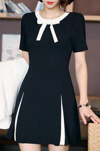Fashion Bow Neckline Contrast Black A Line Dress - Black
