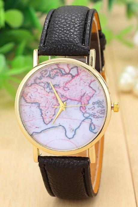 World map casual Pu leather black band woman watch
