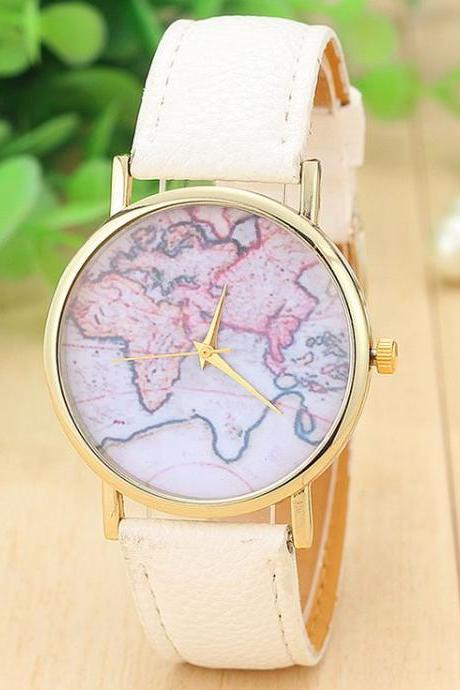 World map casual Pu leather white band woman watch