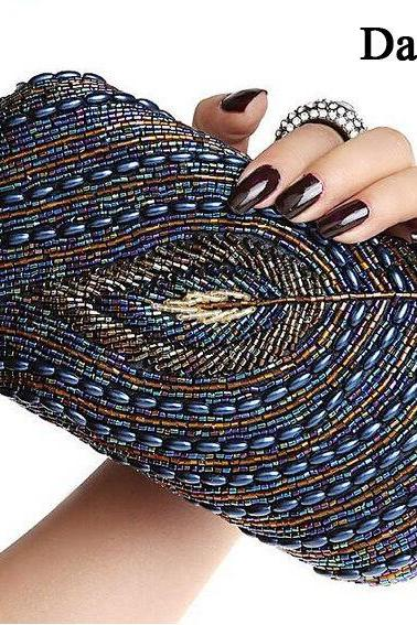 Fashion vintage female day clutch beaded bags handmade bag women's handbag finger ring evening bag clutch bridal bag(NB10023)
