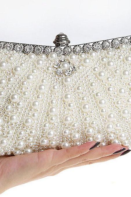 High-grade pearl bag handbag, bride handbag,wedding bag,party handbag,beaded wedding bag(NB10009)