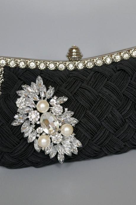 Wedding Woven Rhinestone Brooch Handbag,Bridal Clutches,Party Bags With Chain(NB10032)