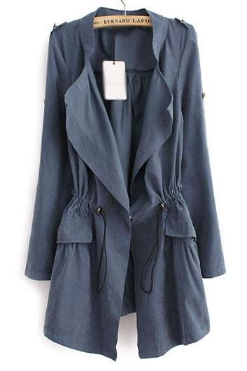 Fashion Pocket Design Drawstring Waist Trench Coat - Blue