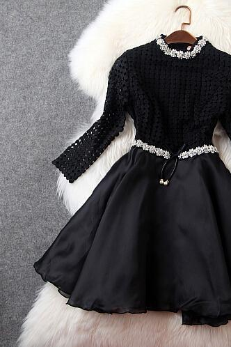 The European And American High-End Manual Nail Bead Bitter Fleabane Bitter Fleabane Skirt Black Organza Dress