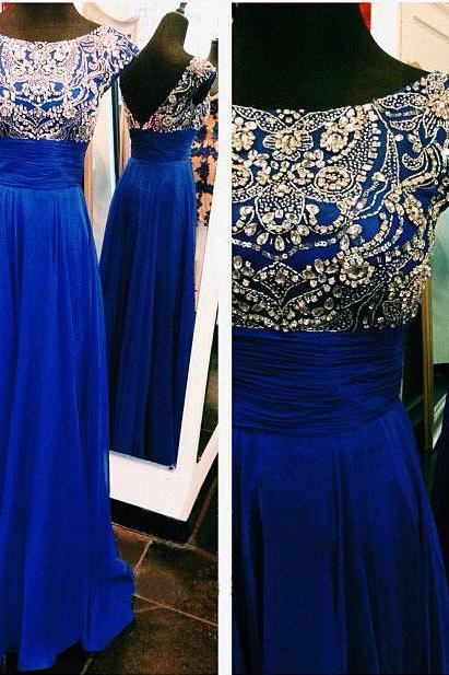 2015 Short Cap Sleeve Royal Blue Sheer Evening Dresses For Pageant Woman A Line Chiffon Floor Length Beaded Top Formal Prom Party Dress Custom Made