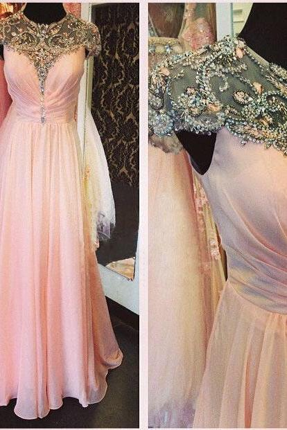 2015 Lovely Pink Color Long Luxury Sheer Evening Dresses A Line Chiffon O Neck Beaded Crystal Top Plus Size Party Dress Custom Made