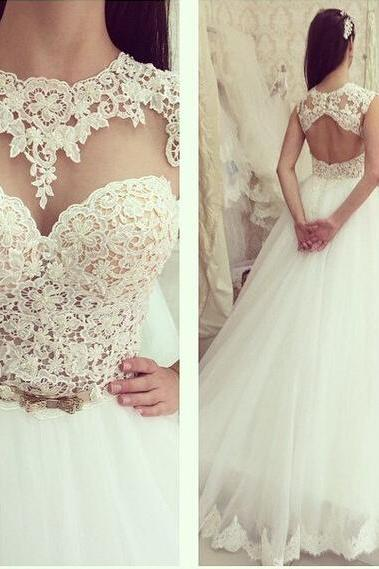 High Neck Cap Sleeve Ball Gown Wedding Gowns Vestido De Noiva Lace Tulle Wedding Dresses 2015 Bridal Gowns