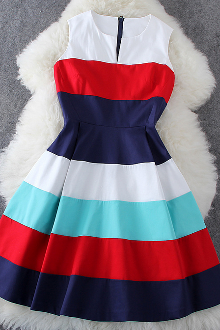 2015 summer fashion Stripe Sleeveless Dress