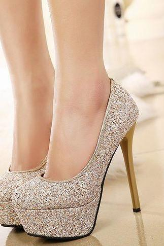 Rounded Toe Glittery Stiletto Pumps, Party Heels