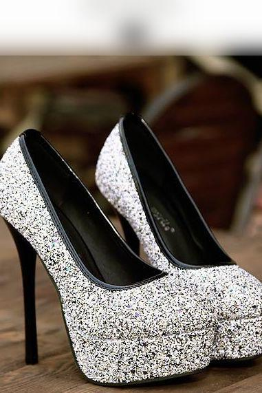 Glittered Round-Toe Platform Stiletto Pumps, High Heels