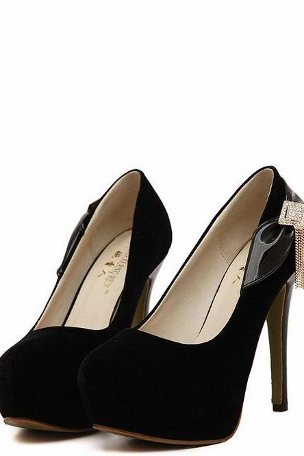 Black Bow And Diamante Design High Heels Fashion Shoes