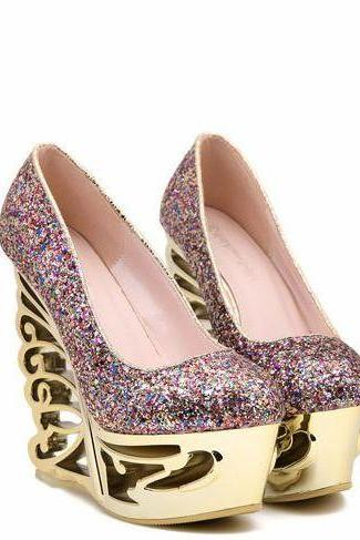 Glitter Platform Butterfly-Inspired Wedges Heels, Prom Shoes, Party Shoes