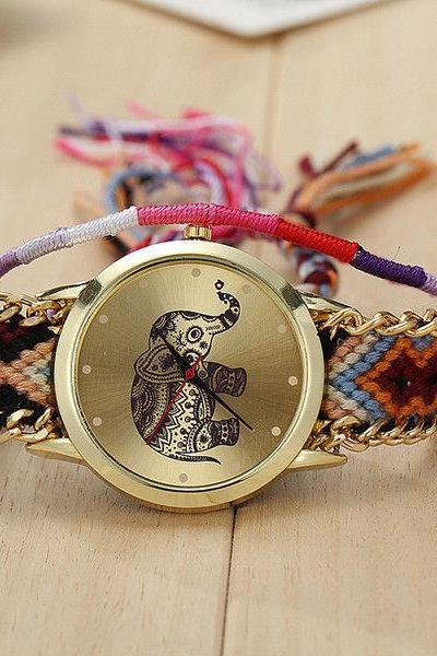 Club bracelet elephant travel unisex watch