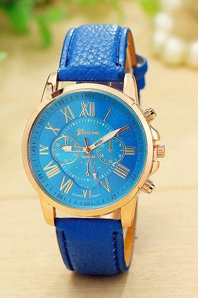 Fashion Dress Accessory PU Leather Blue Band Watch