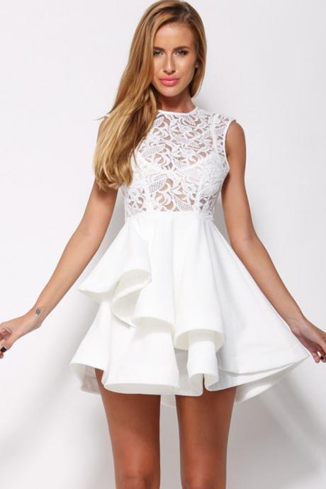 Cheap Fashion O Neck Tank Sleeveless Hollow-Out Lace Patchwork Asymmetrical Hem White Polyester Mini Dress