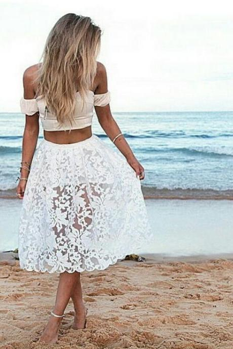 Two Piece Off-Shoulder Dress Featuring Floral Gauze Skirt with Scalloped Details