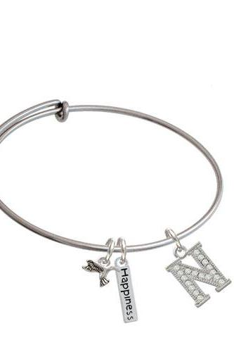 Crystal Initial - Expandable Bangle Bracelet| Initial| N