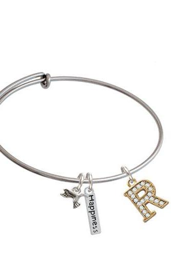 Crystal Gold Tone Initial - Expandable Bangle Bracelet| Initial| R
