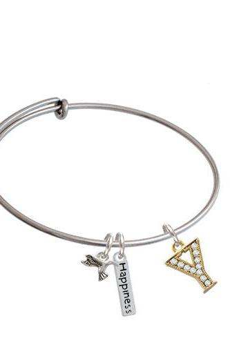 Crystal Gold Tone Initial - Expandable Bangle Bracelet| Initial| Y
