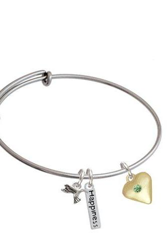 Large Birthday Crystal Gold Tone Heart Expandable Bangle Bracelet| Color| Lime Green