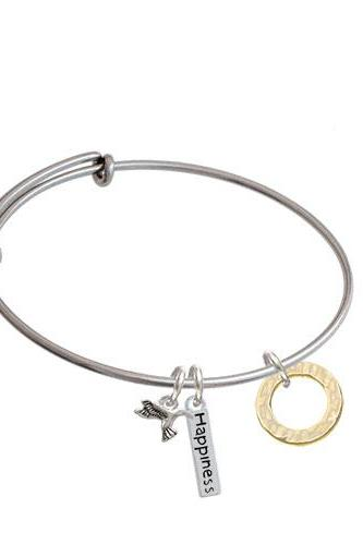 Hammered Karma Ring Expandable Bangle Bracelet| Plating| Gold Tone