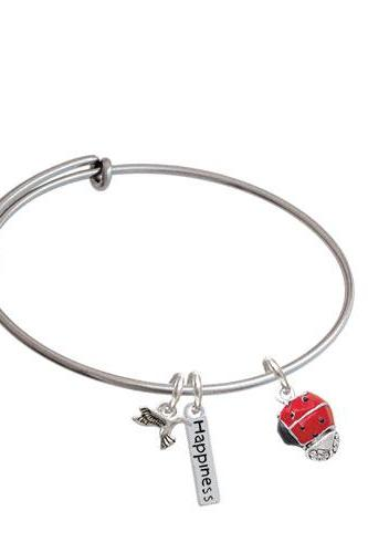 Ladybug Spinner Expandable Bangle Bracelet| Color| Red