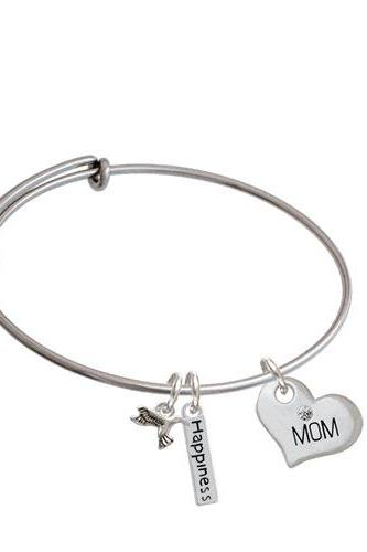 Large Family Heart with Clear Crystal Expandable Bangle Bracelet| Message| Mom