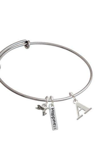 Large Initial - Expandable Bangle Bracelet| Initial| A