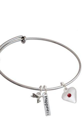Large Birthday Crystal Heart Expandable Bangle Bracelet| Color| Maroon