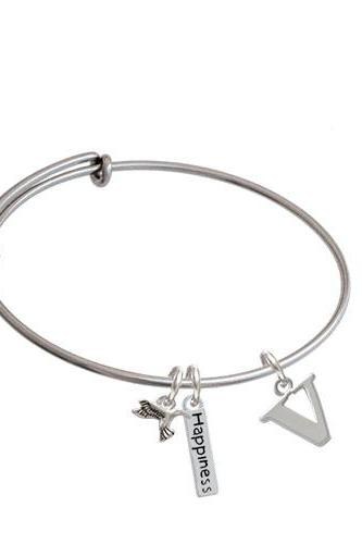 Large Initial - Expandable Bangle Bracelet| Initial| V