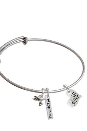 Small Family Heart Expandable Bangle Bracelet| Message| Lil Sister