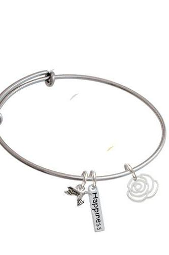 Small Rose Outline Expandable Bangle Bracelet| Plating| Silver Tone