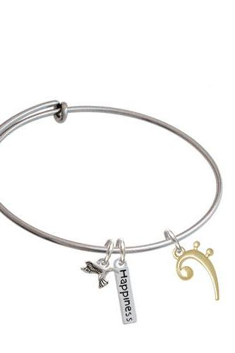Base Clef Expandable Bangle Bracelet| Plating| Gold Tone
