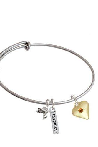 Large Birthday Crystal Gold Tone Heart Expandable Bangle Bracelet| Color| Yellow