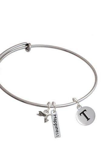 Capital Letter - Pebble Disc - Expandable Bangle Bracelet| Initial| T