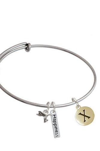 Capital Gold Tone Letter - Pebble Disc - Expandable Bangle Bracelet| Initial| X