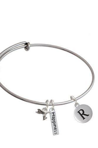 Capital Letter - Pebble Disc - Expandable Bangle Bracelet| Initial| R
