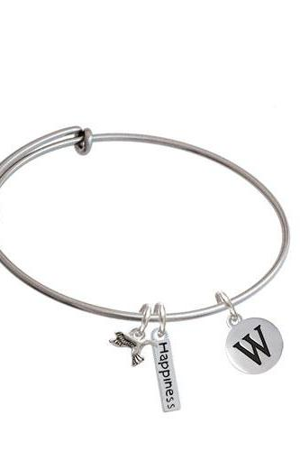 Capital Letter - Pebble Disc - Expandable Bangle Bracelet| Initial| W