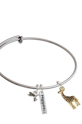 Giraffe Expandable Bangle Bracelet| Plating| Gold Tone/Brown