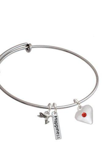 Large Birthday Crystal Heart Expandable Bangle Bracelet| Color| Red