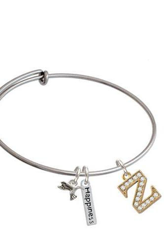 Crystal Gold Tone Initial - Expandable Bangle Bracelet| Initial| Z