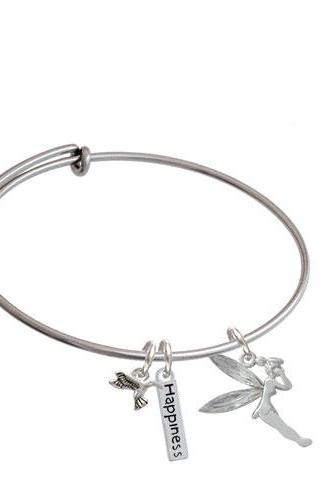Large Fairy with Resin Wings Expandable Bangle Bracelet| Color| Clear